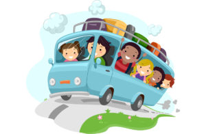 Illustration of Excited Kids Cheering While Riding a Bus
